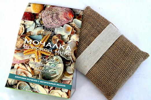 Мочалка с натуральным мылом: «Морской Микс» 120г. КЛ