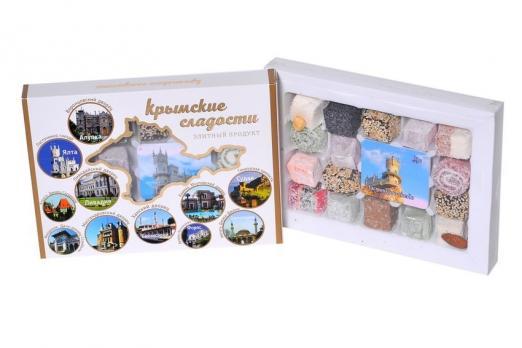 Крымские сладости пейзажи в кругах белая упаковка 300гр Крымский десерт купить