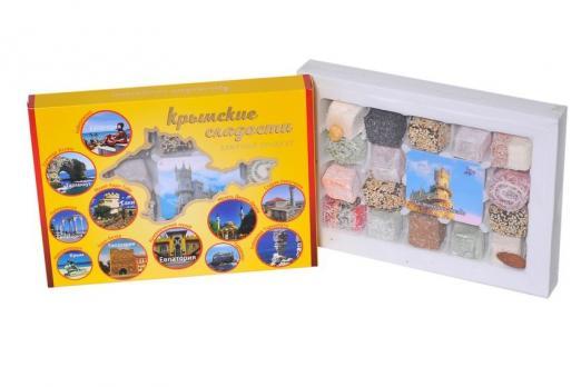 Крымские сладости пейзажи в кругах жёлтая упаковка 300гр Крымский десерт