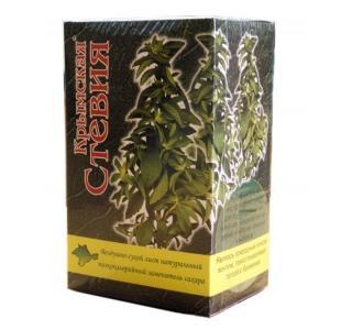Воздушно-сухой лист стевии коробка 25 грамм Крымская стевия купить